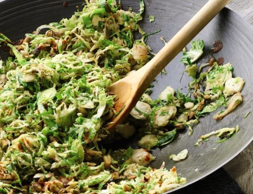 Wok-Fried Shaved Brussels Sprouts with Pistachios and Sriracha from Living the Farm Sanctuary Life