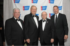 Don Distasio, American Cancer Society (ACS); Bill Deutsch, Dr. Arnold Baskies, ACS Board President; and Peter Deutsch