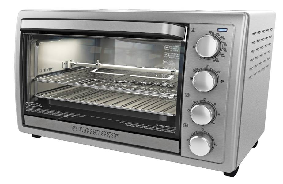 has a removable rack and crumb tray temperature control rotisserie and