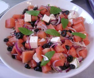 Watermelon, feta, olive on Bite of the Best